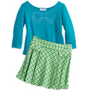 Blue Bow Top & Pleated Plaid Skort for Girls