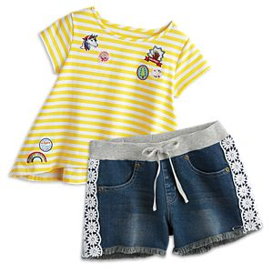Sunny Striped Tee & Flower Shorts for Girls