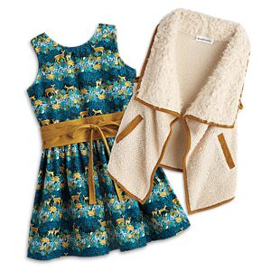 Deer Print Dress & Fuzzy Vest for Girls