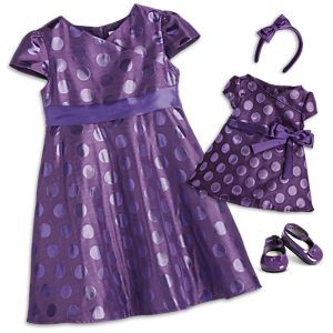 Polka Dot Holiday Dress for Little Girls & Bitty Baby™ Dolls