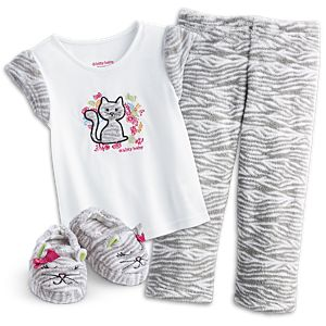 Bitty Kitty PJs & Slippers for Little Girls