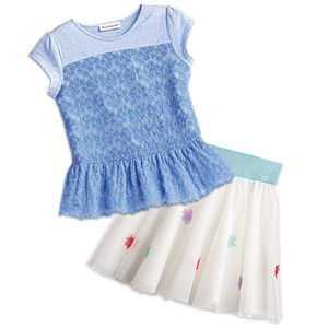 Peplum Top & Mesh Flower Skirt Outfit for Girls