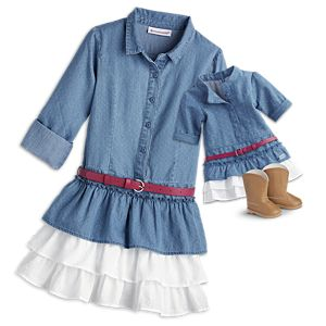 Western Chambray Outfit for Girls & 18-inch Dolls