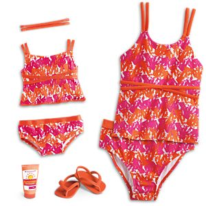 Bright & Splashy Tankini for Girls & 18-inch Dolls