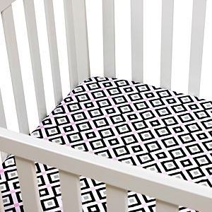 Fitted Crib Sheet - Black and Pink Diamond Printed