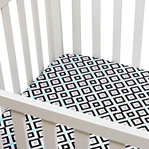 Fitted Crib Sheet - Black and Teal Diamond Printed