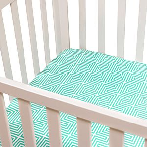 Fitted Crib Sheet - Teal Lisbon Printed