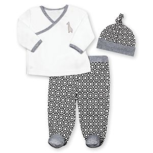 3-Piece Footed Pant Set with Hat