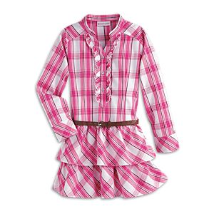 Western Plaid Dress & Belt for Girls