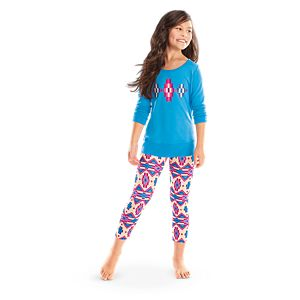 Blue Patterned Pajamas for Girls