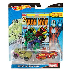 Hot Wheels® Marvel® Hulk™ vs. Iron Man™  Character Car 2-Pack with Mini Comic