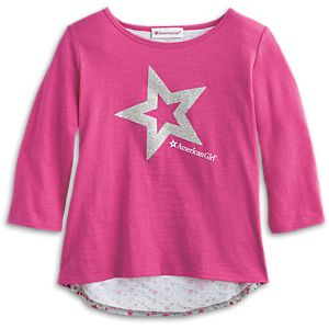 Sparkle Star Cutaway Tee for Girls