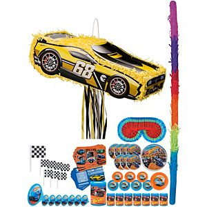 Hot Wheels Yellow Race Car Pinata Kit with Favors