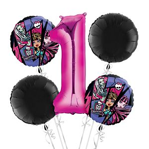 Monster High 1st Birthday Balloon Bouquet 5pc