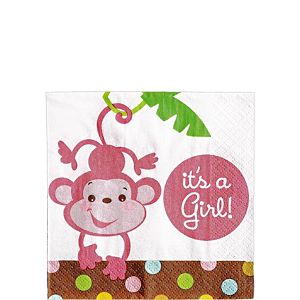 Fisher-Price Jungle Girl Baby Shower Beverage Napkins 16ct