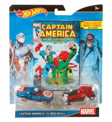 Hot Wheels Marvel Captain America vs. Red Skull  Character Car 2Pack with Mini Comic