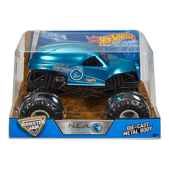 Hot Wheels Monster Jam N E A Police Vehicle Blue Hot