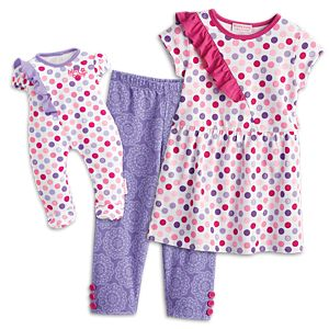 Colorful Dots Outfit for Bitty Baby Dolls & Little Girls