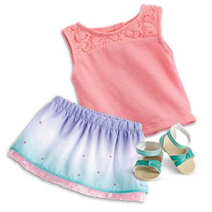 Ombre Waves Skirt & Seashell Lace Tank Outfit for 18-inch Dolls