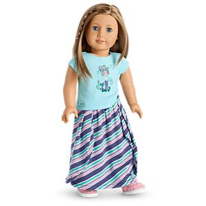 Mermaid Tee & Seashore Stripe Skirt Outfit for 18-inch Dolls