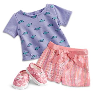 Seashell Sequin Shorts & School of Fish Tee Outfit for 18-inch Dolls
