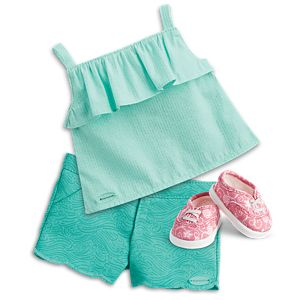 Sea Breeze Top & Wave Shorts Outfit for 18-inch Dolls