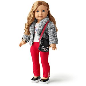cf8db4f10042 Lovely Leopard Coat & Bonjour Fashion Tee Outfit for 18-inch Dolls