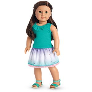 Sea Glass Tank & Ombre Waves Skirt Outfit for 18-inch Dolls