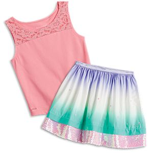 Seashell Lace Tank & Ombre Waves Skirt Outfit for Girls