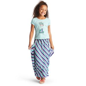 Mermaid Tee & Seashore Stripe Skirt Outfit for Girls