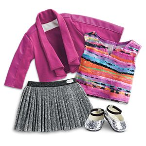 City Sights Jacket & Silver Starlight Skirt Outfit for 18-inch Dolls