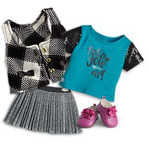 Follow Your Art Tee & Silver Starlight Skirt Outfit for 18-inch Dolls