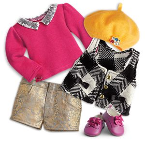 Sequin Collar Sweater & Uptown Shorts Outfit for 18-inch Dolls