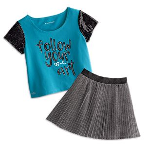 Follow Your Art Tee & Silver Starlight Skirt Outfit for Girls