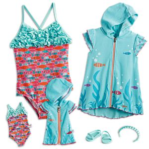 f8f6675120 Fun Fish Swimsuit   Cover-Up for Girls   WellieWishers Dolls