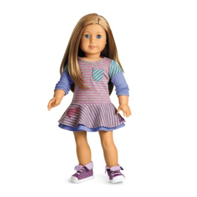 American Girl Doll STRIPED SNEAKERS SHOES My AG Purple Gray NEW in Box