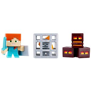 Minecraft Mini Figure 3-Pack - Magma Cubes, Alex with Shield, Skeleton In Cage
