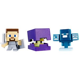 Minecraft Mini Figure 3-Pack - Shulker, Steve with Shield, Skullfire Wither