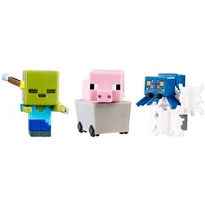 Minecraft Mini Figure 3-Pack - Pig In Cart, Spectral Damage Zombie, Cave Spider In Webs