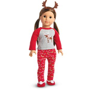 Festive Reindeer PJs for 18-inch Dolls
