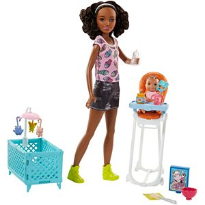 Barbie® Babysitting Playset with Skipper™ Friend Doll, Color-Change Baby Doll, High Chair, Crib and Themed Accessories