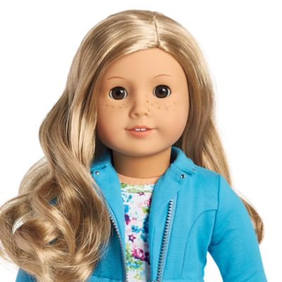 American Girl Doll 24 Truly Me /& Book Brown Eyes,Wavy Blond Hair,Freckles NEW