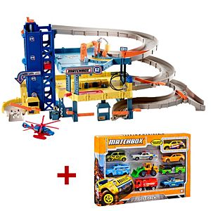 Matchbox® Garage + 9-Car Pack Gift Set