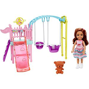 Barbie® Club Chelsea™ Doll and Swing Set Playset with 2 Swings and Slide, Plus Teddy Bear Figure,
