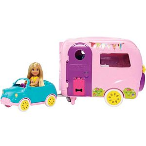 Barbie® Club Chelsea™ Camper Playset with Chelsea™ Doll, Puppy, Car, Camper, Firepit, Guitar and 10 Accessories