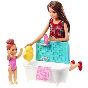 Barbie® Skipper™ Babysitters Inc.™ Playset with Bathtub, Babysitting Skipper™ Doll and Small Toddler Doll Plus Themed Accessories