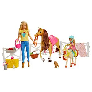 Barbie® Playset with Barbie® and Chelsea™ Blonde Dolls, 2 Horses with Bobbling Heads and 15+ Toy Accessories