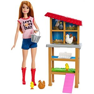 Barbie® Chicken Farmer Doll, Red-Haired, and Playset with Henhouse and Accessories