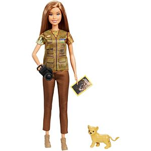 ​Barbie® Photojournalist Doll, Brunette with Lion Cub, Camera and Magazine Cover, Inspired by National Geographic