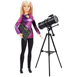​​​Barbie® Astrophysicist Doll, Blonde with Telescope and Star Map, Inspired by National Geographic